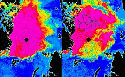 Fonte de glaces en Arctique en été