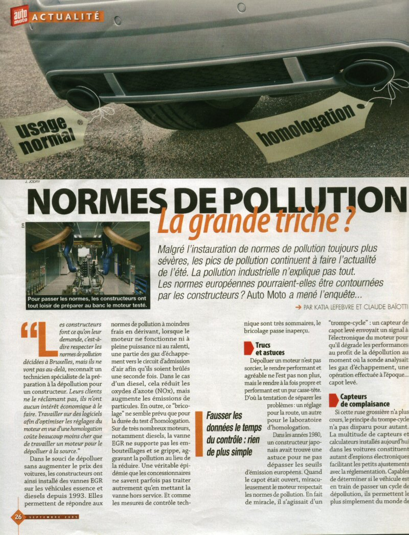 article auto plus triche anti pollution